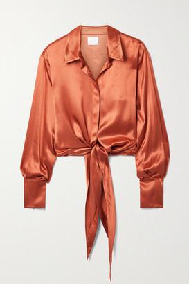 Galvan Lido Tie-front Satin Blouse - Copper