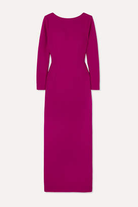 Rebecca De Ravenel Wool-crepe Maxi Dress - Magenta