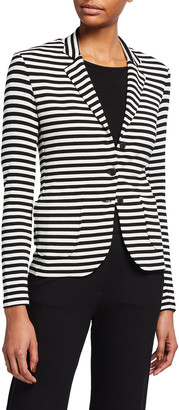 Majestic Filatures Striped 3-Button French Terry Blazer