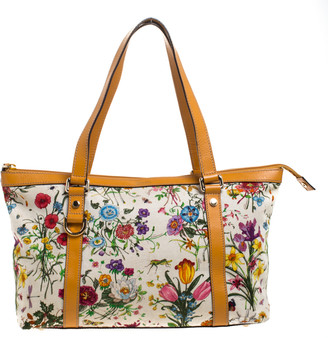 Gucci Multicolor Floral Printed Canvas and Leather Medium Abbey Tote