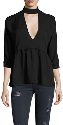 Lucca Couture Neck Band Peplum Blouse