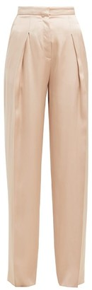 Rochas Oliver High-rise Silk-satin Trousers - Nude
