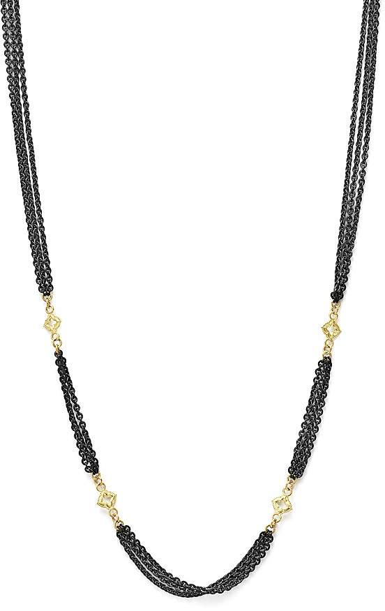 """Armenta 18K Yellow Gold and Sterling Silver Old World Triple Strand Necklace with Cravelli Cross Stations, 20"""""""