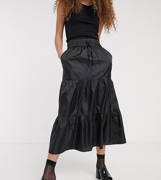 Collusion nylon tiered maxi skirt
