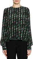 Marni Long-Sleeve Crewneck Abstract-Print Silk Woven Blouse