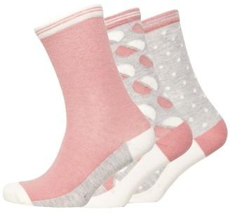 Jaeger Womens Three Pack Broken Spot Socks Old Rose Grey White