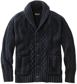 L.L. Bean Men's Signature Cotton Fisherman Sweater, Shawl-Collar Cardigan