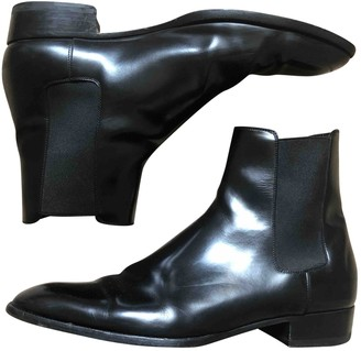 Saint Laurent Wyatt Black Leather Boots