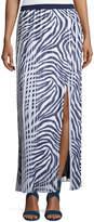 MICHAEL Michael Kors Animal-Print Pleated Maxi Skirt w/ Slit, Navy