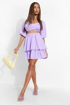 Thumbnail for your product : boohoo Woven Sweetheart Crop & Ruffle Mini Skirt Set