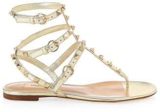 Valentino Garavani Rockstud Ankle-Strap Leather Thong Sandals
