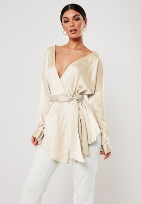 Missguided Extreme Oversized Satin Plunge Tie Waist Blouse