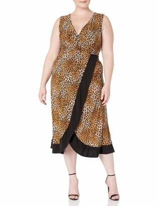 Star Vixen Women's Plus-Size Sleeveless Maxi Dress with Colorblock Wrap-Effect Surplice Skirt