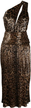 Saint Laurent Leopard-Print One-Shoulder Pleated Dress