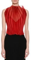 Giorgio Armani Sheer Plissé Sleeveless Blouse, Red