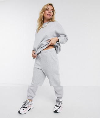 ASOS DESIGN Petite tracksuit oversized sweat / oversized jogger in grey marl