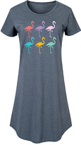 Flamingos Instant Message Women's Women's Tee Shirt Dresses HEATHER - Heather Blue Rainbow Short-Sleeve Dress - Women & Plus