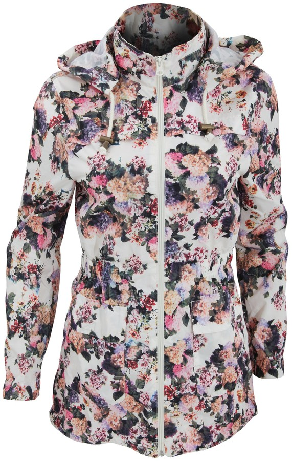 Thumbnail for your product : Brave Soul Womens/Ladies Rave Floral Showerproof Full Zip Jacket (UK 12 EURO 40) (Floral)