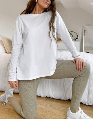 ASOS DESIGN long sleeve T-shirt with back slit in white