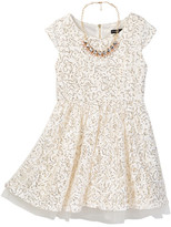 My Michelle mymichelle Lace & Sequin Cap Sleeve Dress with Necklace (Big Girls)