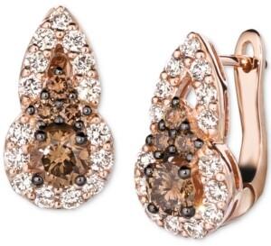 LeVian Le Vian Chocolate Diamond (1/2 ct. t.w.) & Nude Diamond (3/8 ct. t.w.) Omega Drop Earrings in 14k Rose Gold