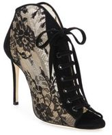 Jimmy Choo Freya 100 Lace & Suede Lace-Up Booties