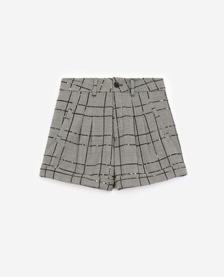 The Kooples Grey and black check shorts with rhinestones