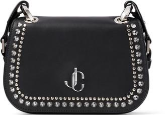 Jimmy Choo VARENNE CROSSBODY/S Black Leather Cross Body Bag with Silver JC Emblem and Studs