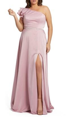 Mac Duggal One-Shoulder Satin Gown