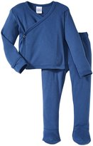 City Threads Wrap Shirt & Footed Pant Set (Baby) - Denim Blue-6-9 Months