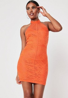 Missguided Orange Lace Halter Mesh Bodycon Mini Dress