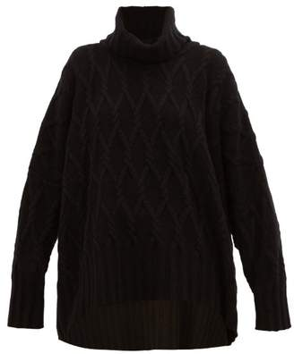 eskandar Roll Neck Cable Knit Cashmere Sweater - Womens - Black
