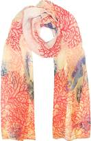 Mila Schon Ivory Coral Reef Printed Chiffon Silk Stole