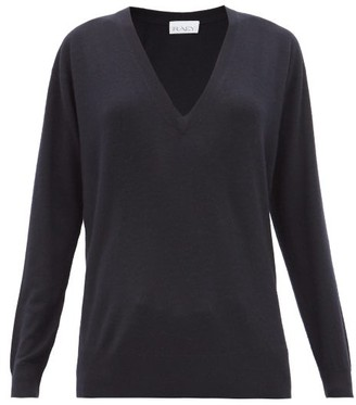 Raey V-neck Fine-knit Cashmere Sweater - Womens - Navy