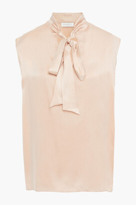 Sandro Pussy-bow Washed-silk Blouse