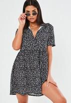 Missguided Black Dalmatian Print Shirt Smock Dress