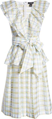 Halogen x Atlantic-Pacific Bow Front Plaid Ruffle Dress