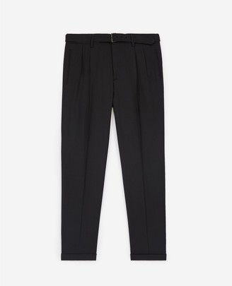 The Kooples Formal black wool trousers with micro motif