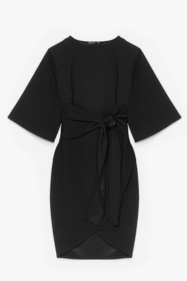 Nasty Gal Womens No Harm in Tie-ing Plus Wrap Dress - Black - 16, Black
