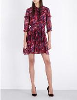 Saloni Tilly ruffle silk-crepe dress