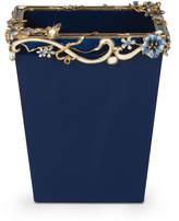 Jay Strongwater Devon Delft Floral Scroll Wastebasket