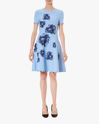 Carolina Herrera Fit Flare Jacquard Dress