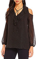 Jones New York Sparkle Clip-Dot Cold Shoulder Top