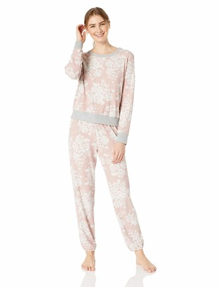 Splendid Women's Long Sleeve Sweater Top and Relaxed Jogger Pajama Set Pj Grey/White Stripe X-Small