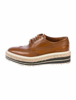 Prada Patent Leather Oxfords Brown