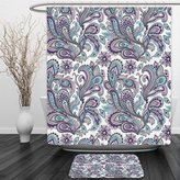 Vipsung Shower Curtain And Ground MatPaisley Blue and Purple Large Flowers Leaves Floral Pattern Bohemian Style Country Print Decor White Purple BlueShower Curtain Set with Bath Mats Rugs