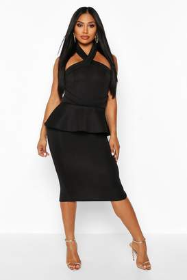 boohoo Halterneck Peplum Bodycon Midi Dress