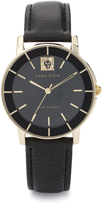Anne Klein Lion Logo Leather Strap Watch