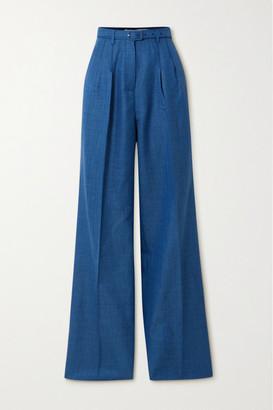 Gabriela Hearst Vargas Belted Pleated Wool, Silk And Linen-blend Wide-leg Pants - Cobalt blue