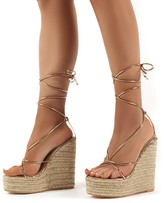 Public Desire Luciana Rose Lace Up Espadrille Wedge Heeled Sandals